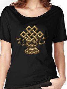 Tibet Endless Knot, Lotus Flower, Buddhism, Eternal Knot Women's Relaxed Fit T-Shirt