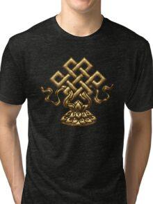 Tibet Endless Knot, Lotus Flower, Buddhism, Eternal Knot Tri-blend T-Shirt