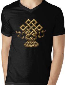 Tibet Endless Knot, Lotus Flower, Buddhism, Eternal Knot Mens V-Neck T-Shirt