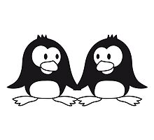 2 cute penguins lovers in love couple love by Style-O-Mat