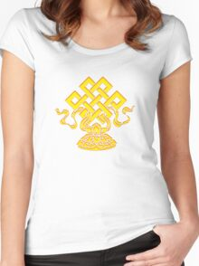 Tibetan Endless Knot, Lotus Flower, Buddhism Women's Fitted Scoop T-Shirt