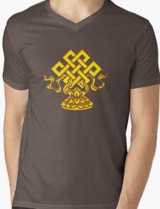 Tibetan Endless Knot, Lotus Flower, Buddhism Mens V-Neck T-Shirt