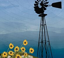 Wind Pump American Style Windmill by Janet Carlson
