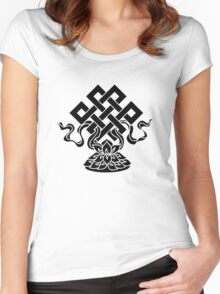 Eternal Knot, Lotus Flower, Buddhism, Lucky Charm Women's Fitted Scoop T-Shirt