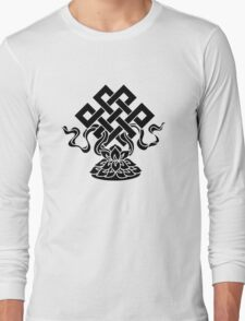 Eternal Knot, Lotus Flower, Buddhism, Lucky Charm Long Sleeve T-Shirt