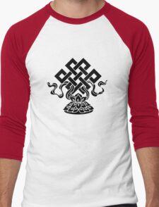 Eternal Knot, Lotus Flower, Buddhism, Lucky Charm Men's Baseball ¾ T-Shirt