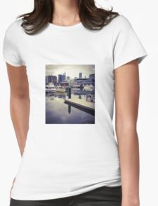 Boats at Melbourne Docklands Womens Fitted T-Shirt
