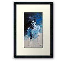 MAN SMOKING BLUES Framed Print