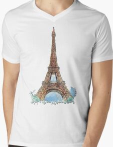 Eiffel Tower Mens V-Neck T-Shirt