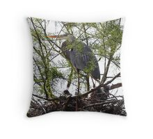 Great Blue Heron and Nestlings Throw Pillow