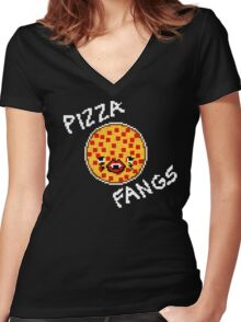 Pizza Fangs (Dark Colors) Women's Fitted V-Neck T-Shirt
