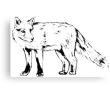 Sly Fox Black Sketchy Outline Canvas Print