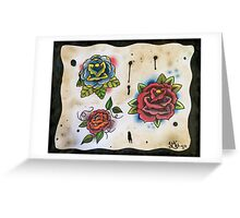 3 Roses - Tattoo Flash Greeting Card