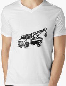 Car toy truck crane tow truck-mounted crane truck  Mens V-Neck T-Shirt