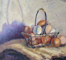 Farm Eggs in a Basket by brandycattoor