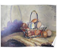 Farm Eggs in a Basket Poster