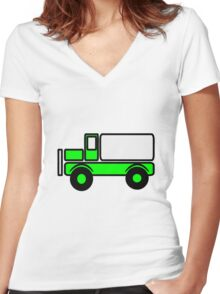 Car toys baby truck vehicle Women's Fitted V-Neck T-Shirt