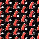 Black Funny Cartoon Dinosaur Football by Boriana Giormova