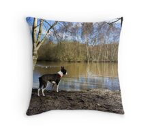 Landscape with Dog Throw Pillow
