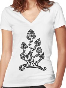 Magic mushrooms, Plants of the Gods, psychedelic, Trance Goa Psy  Women's Fitted V-Neck T-Shirt