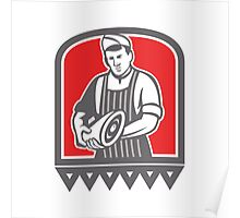 Butcher Holding Leg of Meat Retro Poster