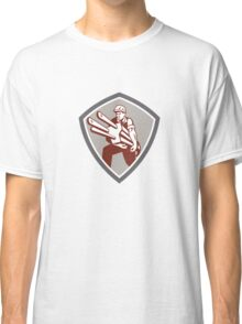Electrician Carrying Electric Plug Shield Retro Classic T-Shirt