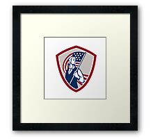 American Patriot Holding USA Flag Shield Framed Print