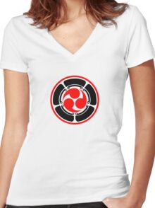 Mitsu Tomoe - Lotus -  Japan - Trinity Symbol Women's Fitted V-Neck T-Shirt