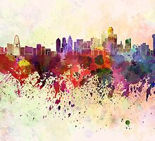 Dallas skyline in watercolor background by Pablo Romero