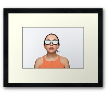 Girl with 3D glasses Framed Print