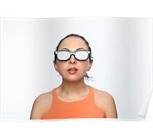 Girl with 3D glasses Poster