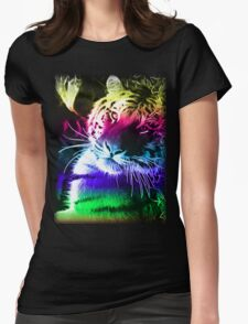 BLACK BACKGROUND COLOURFUL FRACTAL LIGHT BENGAL TIGER T Shirt Design By Christopher McCabe Womens Fitted T-Shirt