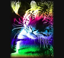 BLACK BACKGROUND COLOURFUL FRACTAL LIGHT BENGAL TIGER T Shirt Design By Christopher McCabe Unisex T-Shirt