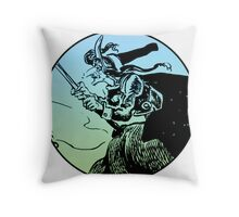 Witch on Broom Throw Pillow
