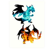 Mega Charizard X and Y used Blast Burn Art Print