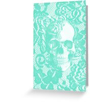 Mint lace skull Greeting Card