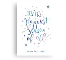 Happiest season christmas watercolor illustration Canvas Print