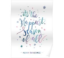 Happiest season christmas watercolor illustration Poster