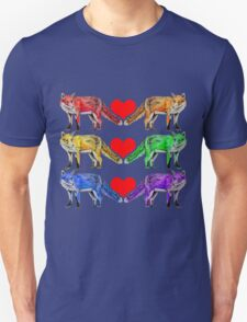 Frolicking Friendly Rainbow Foxes Unisex T-Shirt
