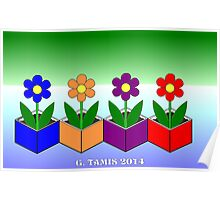 FLOWERS IN CUBES Poster