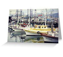 boats at the wharf Greeting Card