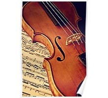Old rare violin on note sheet Poster