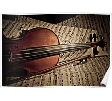 Rare old violin with bow Poster