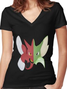 Syther #123 and Scizor #212 Women's Fitted V-Neck T-Shirt