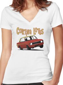 Ford Cortina Lotus Mk2 Women's Fitted V-Neck T-Shirt