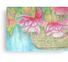 Fuschia Basket Watercolor Canvas Print