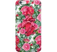 Watercolor pattern with heart and cammelias iPhone Case/Skin