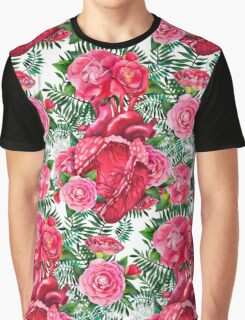Watercolor pattern with heart and cammelias Graphic T-Shirt