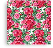 Watercolor pattern with heart and cammelias Canvas Print