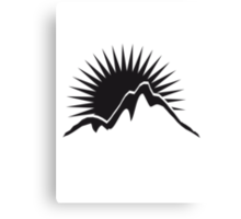 Beautiful mountains Sun logo Canvas Print